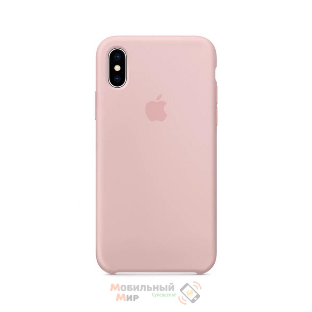 Силиконовая накладка для Apple iPhone X/XS Silicone Case Pink