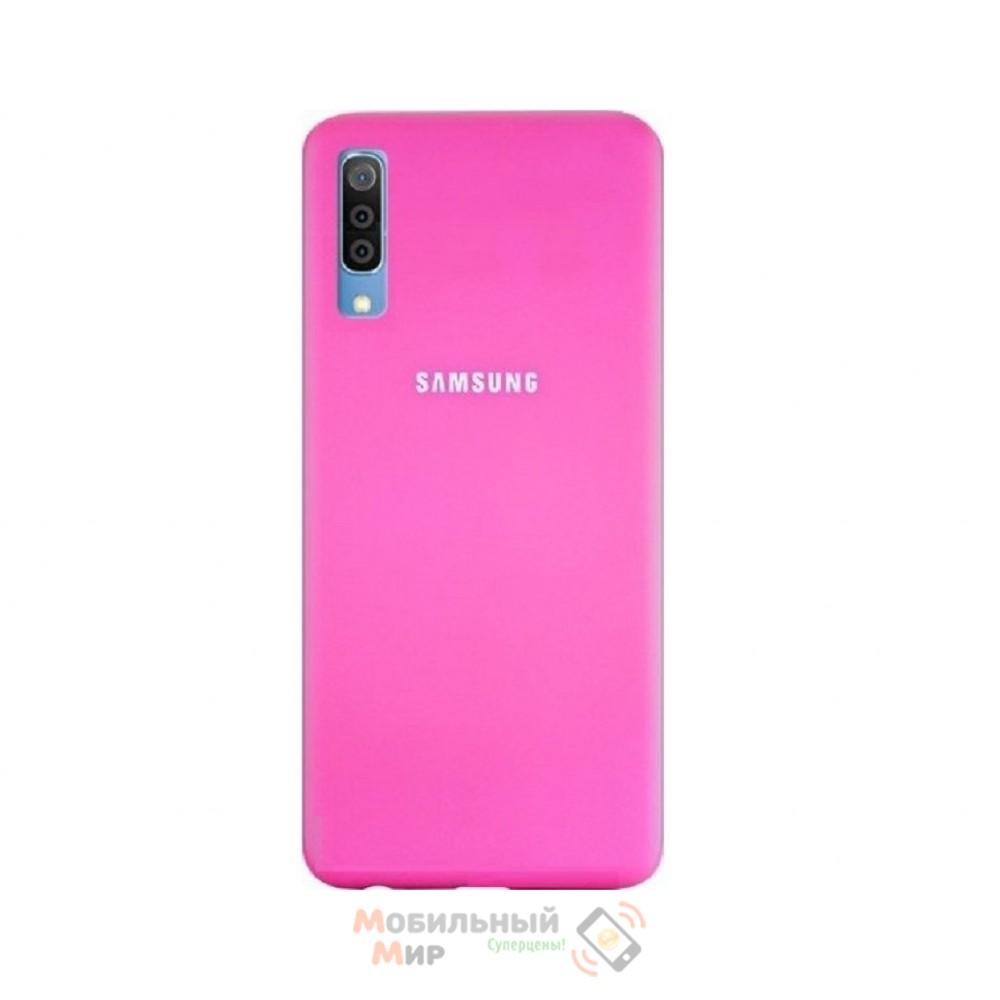 Силиконовая накладка Silicone Case для Samsung A50 2019 A505 Pink