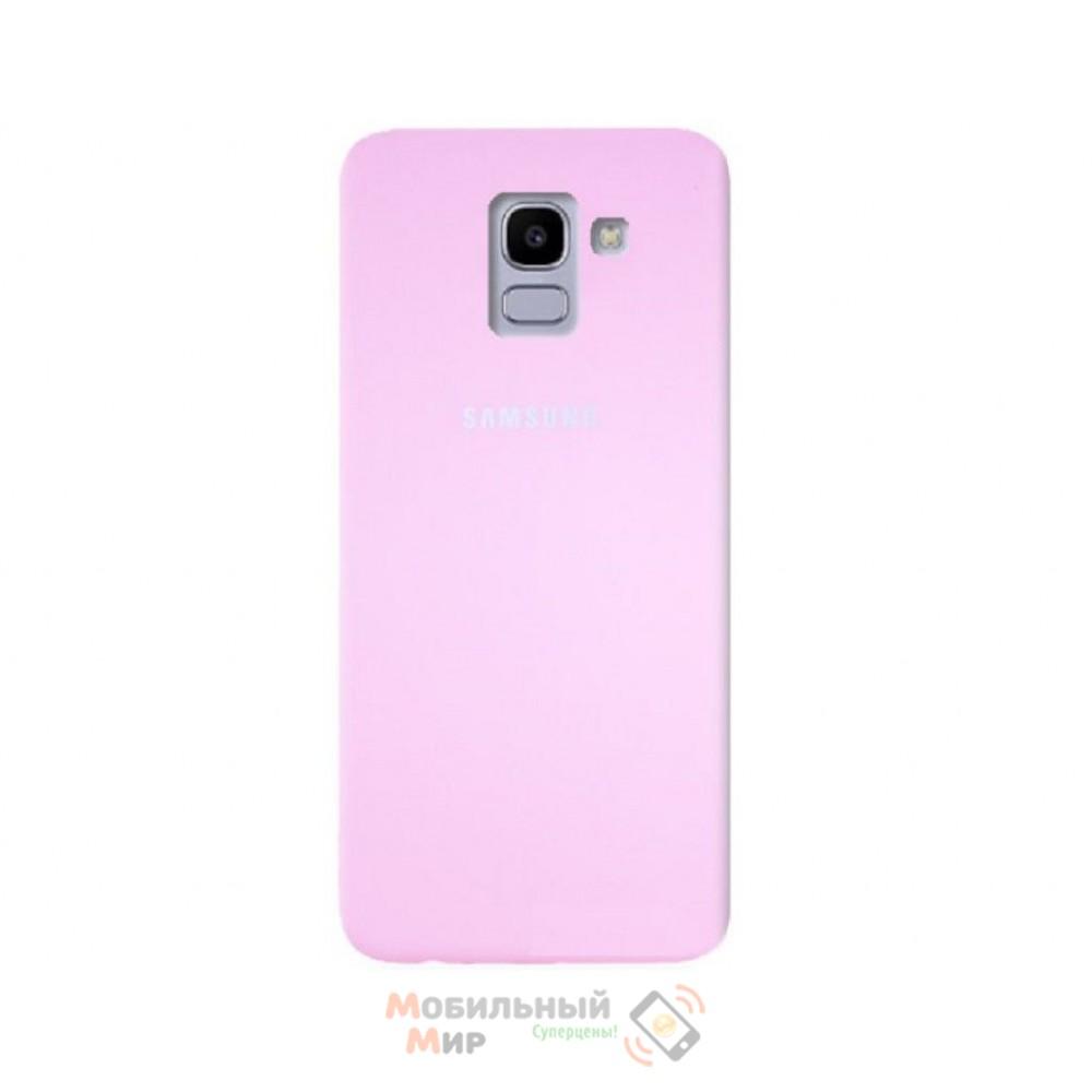 Силиконовая накладка Silicone Case для Samsung J6 2018 J600 Pink