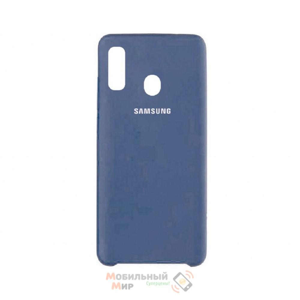 Силиконовая накладка Silicone Case для Samsung A40 2019 A405 Navy blue