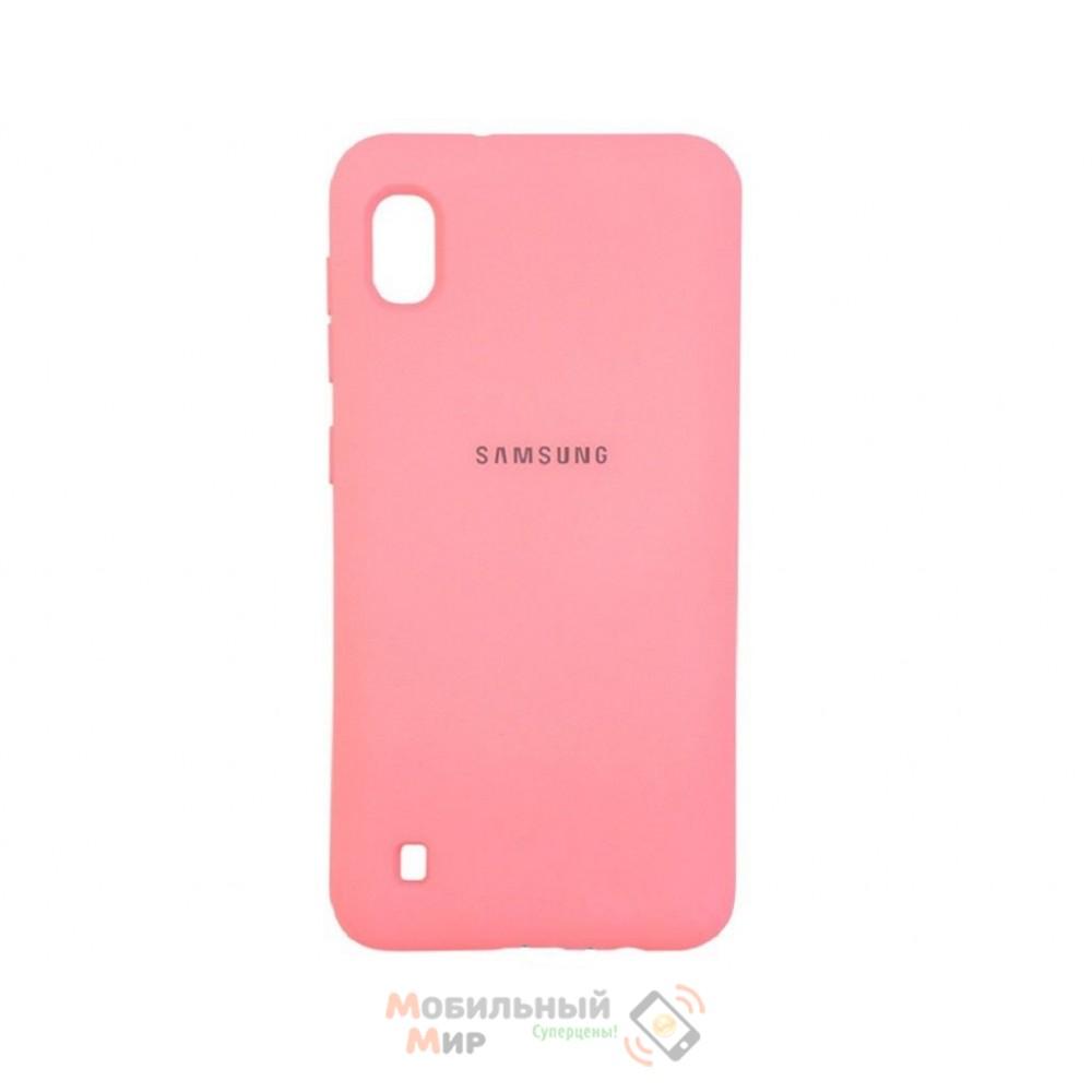Силиконовая накладка Silicone Case для Samsung A10 2019 A105 Pink