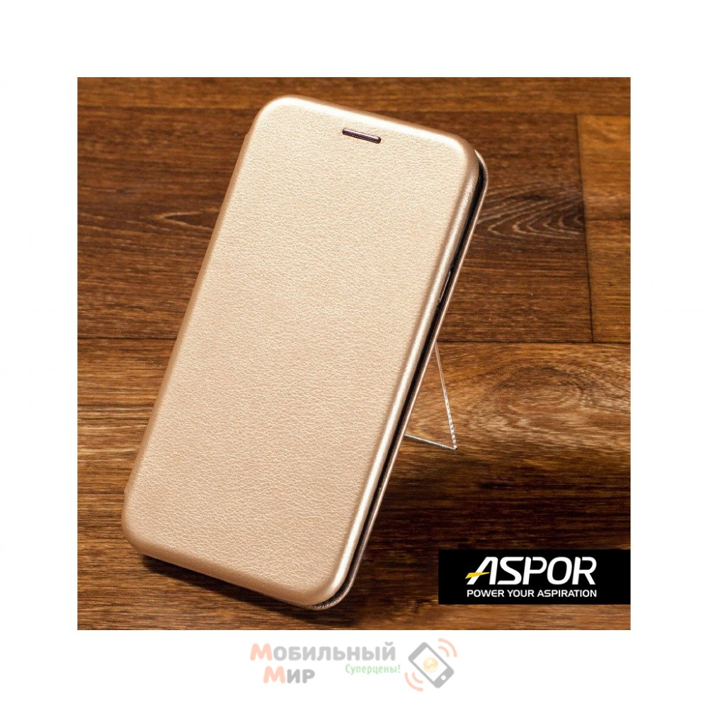 Чехол-книжка Aspor для Samsung A10s 2019 A107 Leather Gold