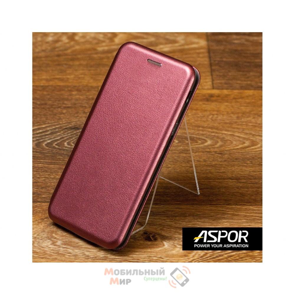 Чехол-книжка Aspor для Xiaomi Redmi Note 8 Leather Burgundy