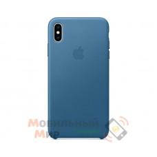 Кожаная накладка Leather Case для iPhone X/XS Blue