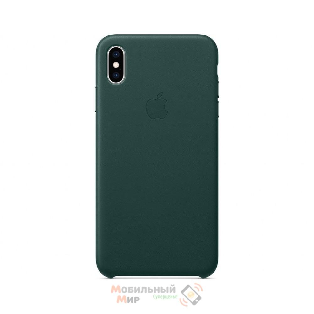Кожаная накладка Leather Case для iPhone X/XS Green