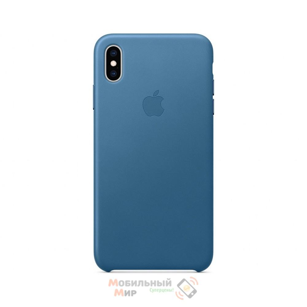 Кожаная накладка Leather Case для iPhone XS Max Blue
