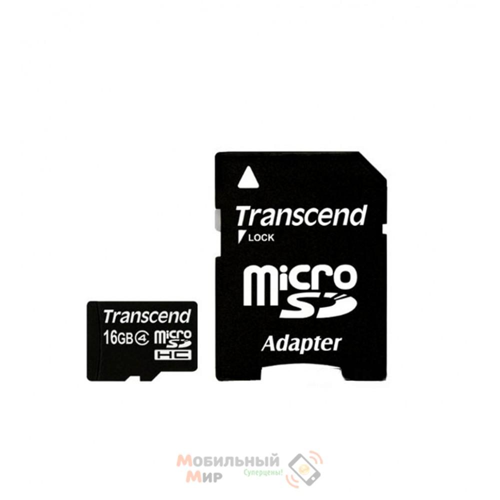 MicroSDHC 16 GB Transcend Class 10 + SD Adapter