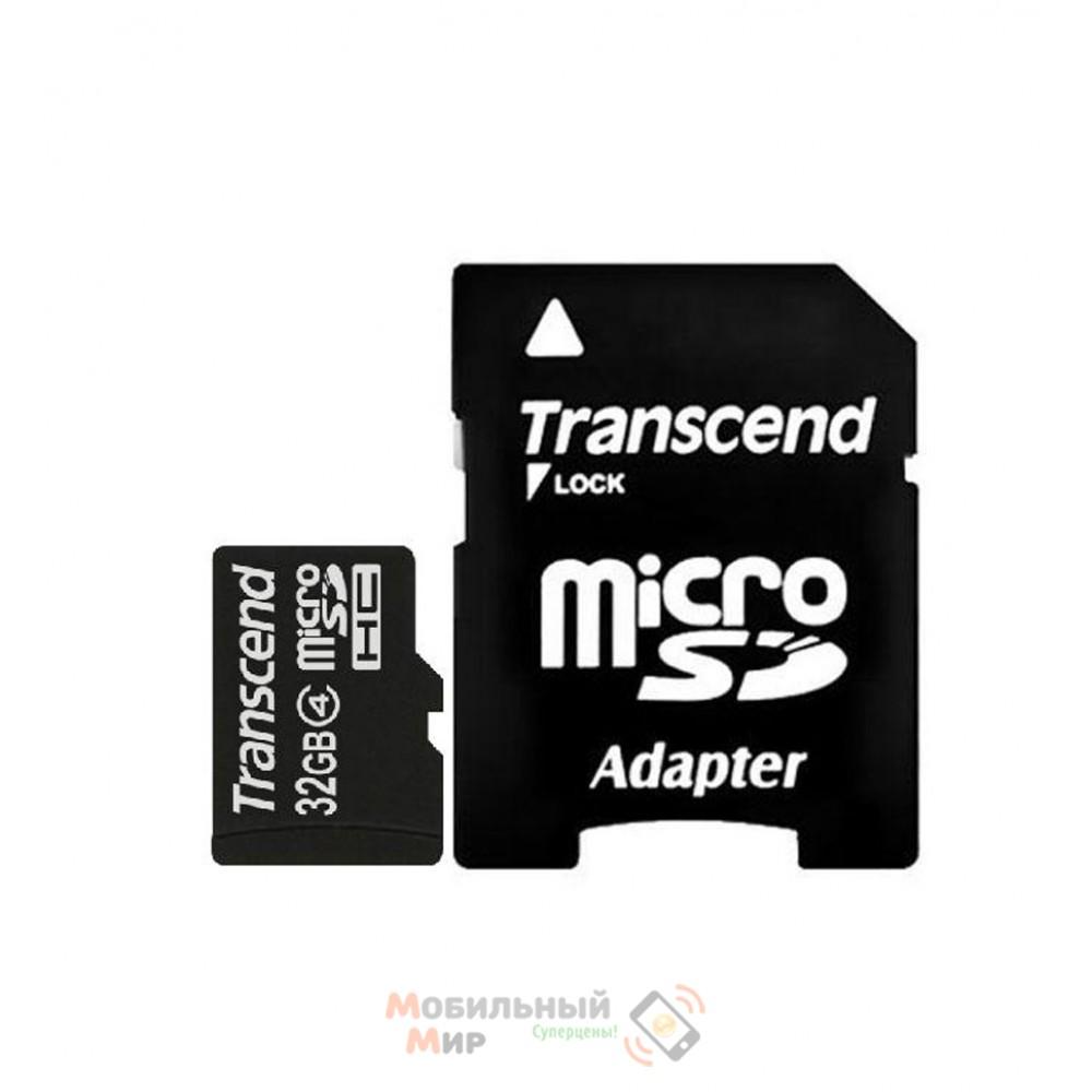 MicroSDHC 32 GB Transcend Class 10 + SD Adapter
