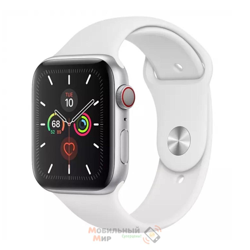Смарт-часы Apple Watch Series 5 GPS+LTE 44mm Silver Aluminum Case with White Sport Band (MWVY2)